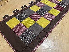 Úžitkový textil - Patchwork zástena nad posteľ 60 x 200 cm + putka 10 cm - 13276386_