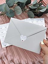 Nálepka na obálku Berieme sa šedé srdiečko - 20ks