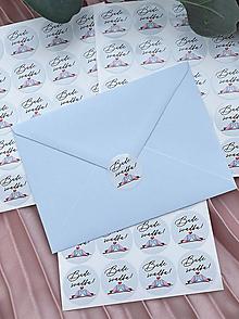 Papiernictvo - Nálepky Bude svadba sivé vtáčiky - 20ks - 13271584_