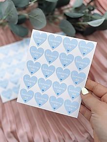 Papiernictvo - Nálepka na obálku Berieme sa modré srdiečko - 20ks - 13276191_