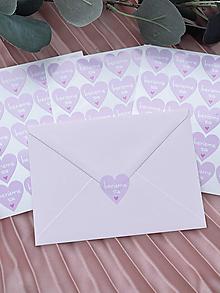 Papiernictvo - Nálepka na obálku Berieme sa ružové srdiečko - 20ks - 13276224_