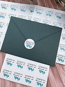 Papiernictvo - Nálepka na obálku Ľúbime sa, berieme sa Eukaliptus - 20ks - 13276292_