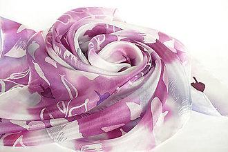 Šatky - Violet. Hedvábný šátek. - 13275097_