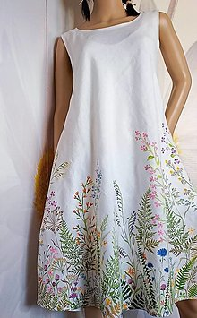"""Šaty - Maľované ľanové šaty """" Lúčne II. """" - 13273026_"""