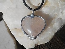 Náhrdelníky - heart rosa-ruženín-for you-náramok v cene - 13274831_