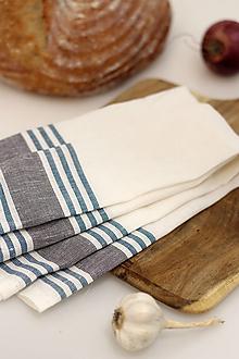 """Úžitkový textil - Ľanová utierka s modrošedým pásikom """"Linenhome"""" - 13273284_"""