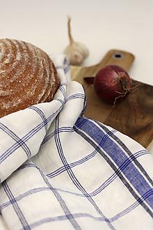 """Úžitkový textil - Ľanová utierka bielej farby s modrým vzorom """"Linenhome"""" - 13273355_"""
