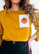 Košele - Upcyklovaná horčicovo-žltá blúzka - 13274763_