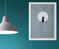 Obrazy - Obraz 3D / minimalizmus/ Mačka zízajúca na mesiac - 13273370_
