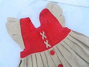 Detské oblečenie - Dievčenské šaty s háčkovaným živôtikom (Ruža) - 13272677_