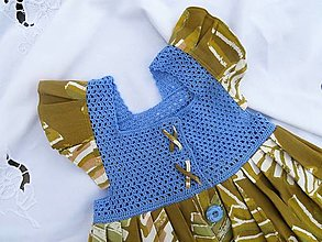 Detské oblečenie - Dievčenské šaty s háčkovaným živôtikom (Nezábudka) - 13272977_