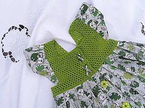Detské oblečenie - Dievčenské šaty s háčkovaným živôtikom (Monstera) - 13272984_