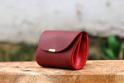 Peňaženky - Malá kožená peňaženka III., červená - 13279915_