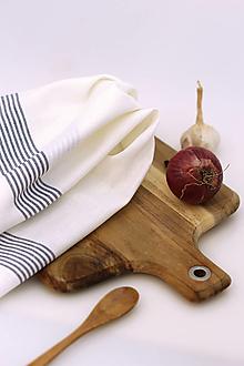 """Úžitkový textil - Ľanová biela utierka s pásikmi """"Linenhome"""" - 13276688_"""