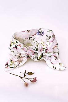 "Šatky - Jemná kvetinová šatka okolo krku/vlasov z ľanu ""Linenrose"" - 13278950_"