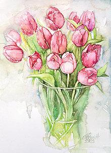 "Obrazy - Akvarelový obraz ""Tulipány"" - 13280168_"