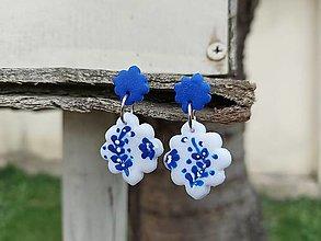Náušnice - Modrobiele - 13281220_