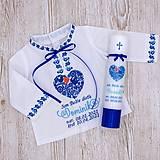 Detské oblečenie - Košieľka na krst v ľudovom štýle modrá (set košieľka + SBD + sviečka) - 13279060_