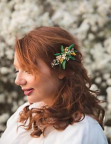 """Ozdoby do vlasov - Kvetinový mini hrebienok """"slnko v papradí"""" - 13277461_"""
