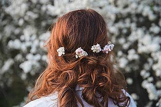 """Ozdoby do vlasov - Kvetinové vlásenky """"tajomstvá bielych perín"""" - 13277473_"""