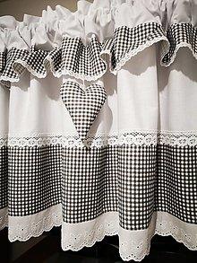 Úžitkový textil - Záclonka čierno-biela - 13276534_