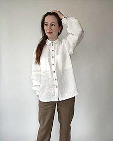 Košele - Ľanová košeľa, biela - 13278098_