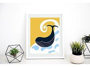 Grafika - Šťastná Veľryba - print A4 - 13276695_