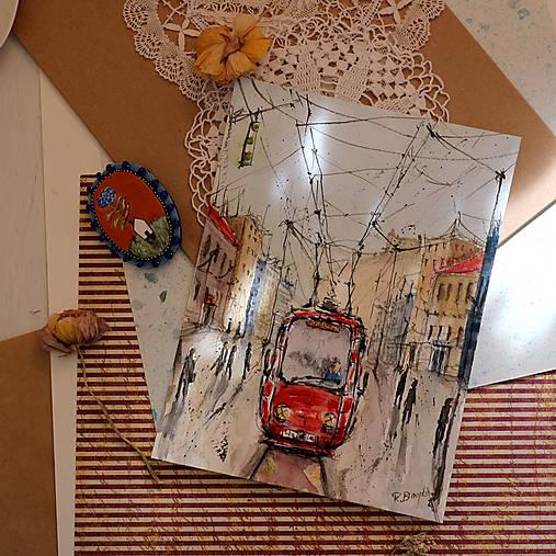 V meste/akvarelový originál by Richie Bumpkin