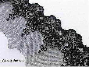 Galantéria - Čipka vzor 100 mm - cena za 10 cm (Čierna) - 13281480_