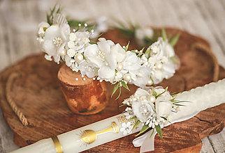 Detské doplnky - Set na 1.sväté prijímanie:  kvetinový venček a ozdoba na sviecu na prvé sväté prijímanie - 13285204_