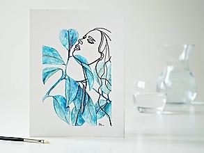 Obrazy - Ficus elastica a Dáma 1, akvarel, 18 x 24 cm - 13281554_