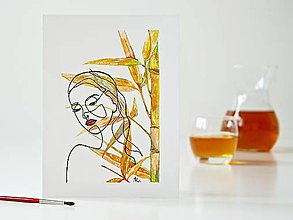 Obrazy - Palm Bamboo a Dáma 3, akvarel, 18 x 24 cm - 13281674_