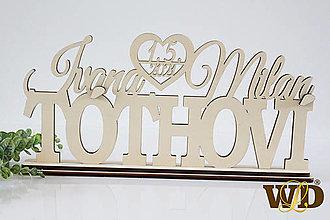 Dekorácie - Spoločné priezvisko s menami a dátumom svadby - 13283082_