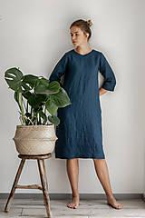 Šaty - Ľanové šaty Monika Petrolej - 13285581_