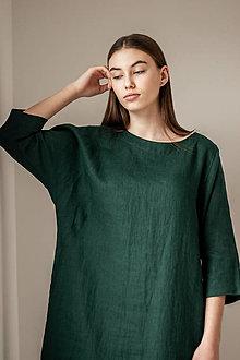 Šaty - Ľanové šaty Kimono Verde - 13285461_