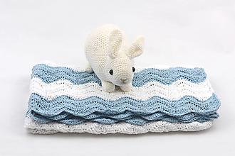 Textil - Bledomodro-biela detská deka FINE - 13283977_