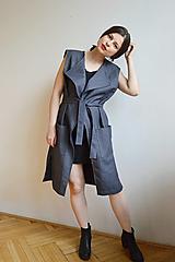 Iné oblečenie - Sivomodrá dlhá zavinovacia vesta - 13284560_