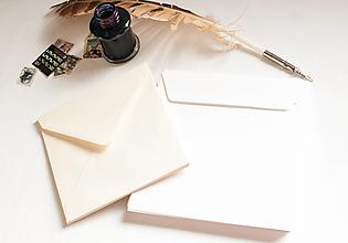 Papier - Obálka štvorcová / biela, cream - 13285765_