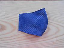 Rúška - Rouška modrá s bílými tečkami - 13281339_