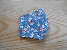 Rúška - Rouška modrošedá s ptáčky s květy - 13281344_