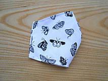 Rúška - Rouška bílá s černými motýlky - 13281354_