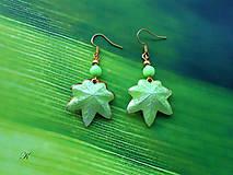 Náušnice - Náušnice cloisonné listy javorové barvy zelenkavé - 13284707_