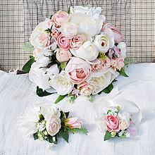 Kytice pre nevestu - Svadobná sada, kytica s pivonkami, iskerníkmi a ružičkami, krémová, púdrová, ružová - 13287957_