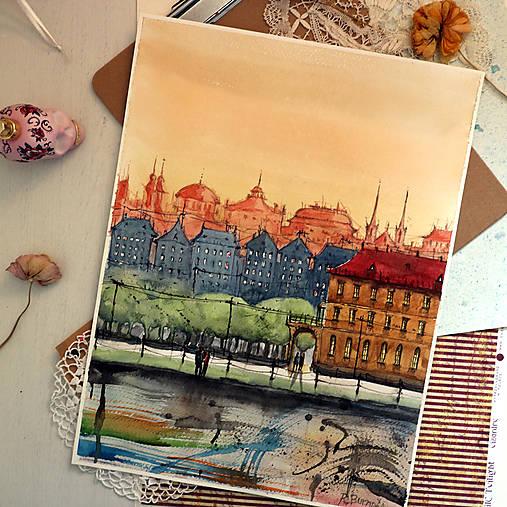 Malý príbeh o druhom brehu/ akvarelový originál by Richie Bumpkin
