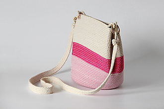 Kabelky - Provazová kabelka růžová - 13287869_