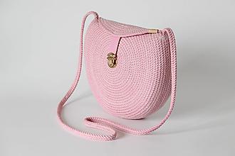Kabelky - Provazová kabelka kulatá růžová - 13287898_