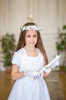 Ozdoby do vlasov - Jemný kvetinový venček na prvé sväté prijímanie - 13289720_