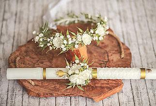 Detské doplnky - Set na 1.sväté prijímanie:  kvetinový venček a ozdoba na sviecu na prvé sväté prijímanie - 13289819_