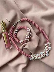 Sady šperkov - Perlový set v růžové - 13290113_