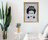 Obrazy - Abstraktný obraz / portrét / Frida Kahlo s vylisovanými sedmokráskami - 13287411_